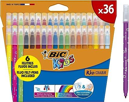BIC Kids Kid Couleur rotuladores punta media - colores Surtidos, Estuche de 36 unidades: Amazon.es: Oficina y papelería