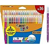 BIC Kids Couleur Felt Tip Colouring Marker Pen Medium Point - Assorted Colours, Pack of 36 Coloured Felt Pens Markers