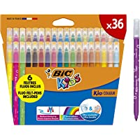 BIC Kids Couleur Felt Tip Colouring Marker Pen Medium Point - Assorted Colours, Pack of 36 Coloured Felt Pens Markers