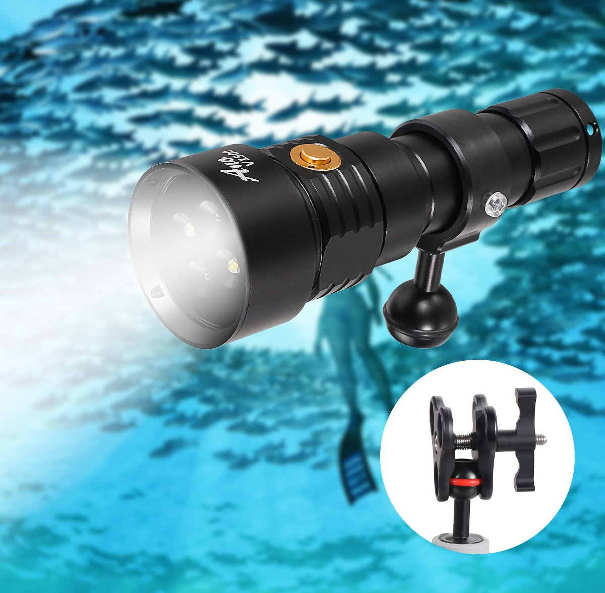 ANO V1500 Diving Video Light with White Red Color 1500 Lumens Diving Photo Light with Kingkong 26650 Battery and USB Charger Recreational Waterproof Underwater Video Light