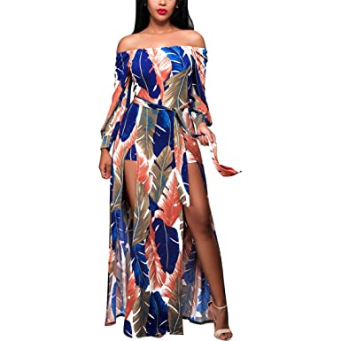 Womens Dresses,Moonuy, Boho Long Maxi Dress, Slash Neck Long Sleeve Evening Party