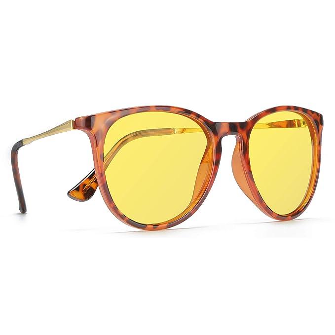 e4cee3342c TJUTR Gafas Nocturna Polarizados, HD Gafas Amarilla Anti Reflectante Retro  Redondas - 100% Protección