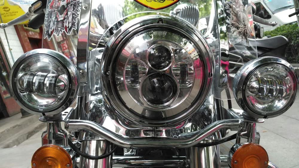 HOZAN Chrome 7inch 60W LED Motorcycle Headlight for Harley Road King Street Glide Indian Chieftain Fatboy FLHTCUTG FLHT-1 Pack