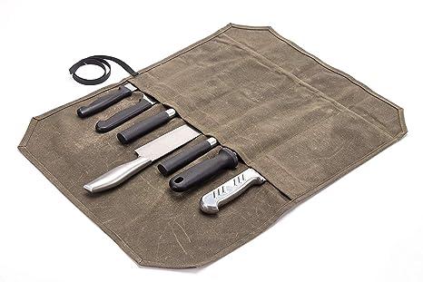 Amazon.com: Estuche de lona encerada para cuchillos de chef ...