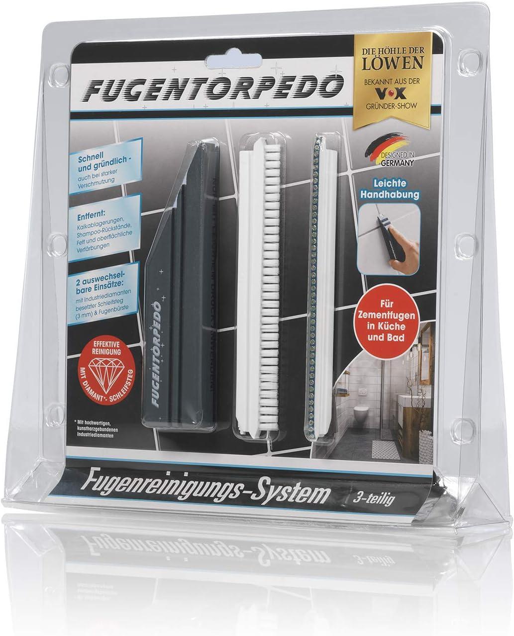 Effektive Fugenreinigung F/ür Zementfugen in K/üche und Bad Fugentorpedo 00863 Basis-Set Griff Schwarz One Size Fugenb/ürste /& 1x Schleifsteg 3mm
