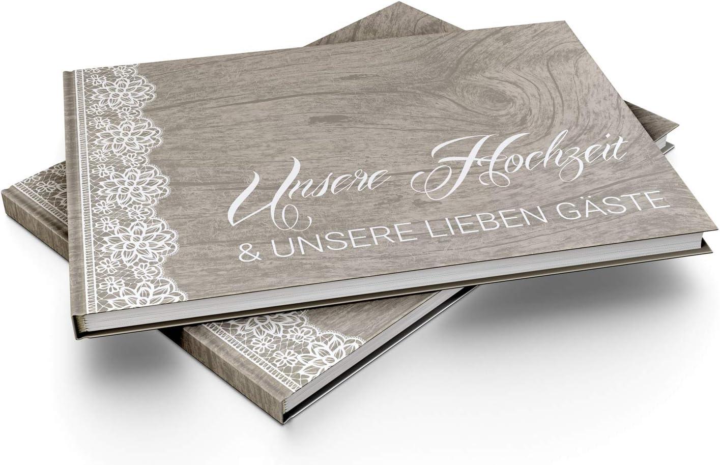 bigdaygraphix G/ästebuch Hochzeit Hochzeitsbuch mit Fragen A4 quer Vintage Spitze
