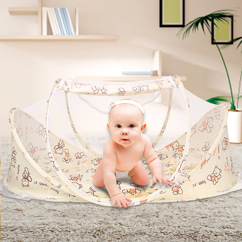 SINOTOP Baby Mosquito Ded Portable for Travel, Baby Bed Folding Baby Crib Mosquito Net Portable Baby Cots for 0-18 Month Baby