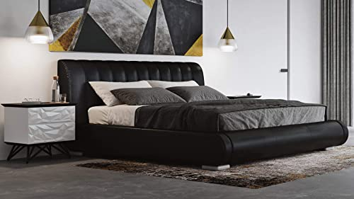 Zuri Furniture Dior Leather Contemporary Platform Cal King Bed