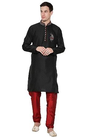 f60a216e0fa2 Amazon.com  Indian Kurta Pajama for Men Art Silk Paisley Print Kurta Pyjama  Set Indian Ethnic Party Wear  Clothing