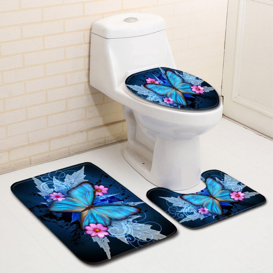 Badematte Set 3 Teilig Flanell Toilettenmatte Set teilig PVC Badgarnitur Badematte rutschfester Badvorleger Badset Badteppich Stand-WC Moon mood/® Schmetterlinge Muster 3 Rechteckiges