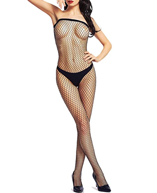 77335bf8f Amoretu Industrial Net Crotchless Bodystocking Plus Size Lingerie for Women   Amazon.ca  Clothing   Accessories