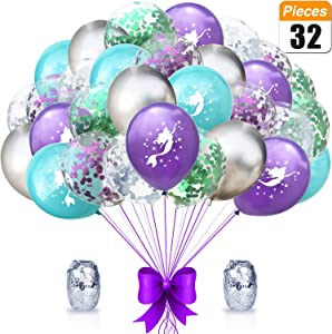 Mermaid Party Balloons Supplies Birthday Decorations Pack of 32 - Mermaid Printed Balloons with Glitter Confetti Clear Sparkle Decorations Sea Party Balloon Kit for Children Birthday