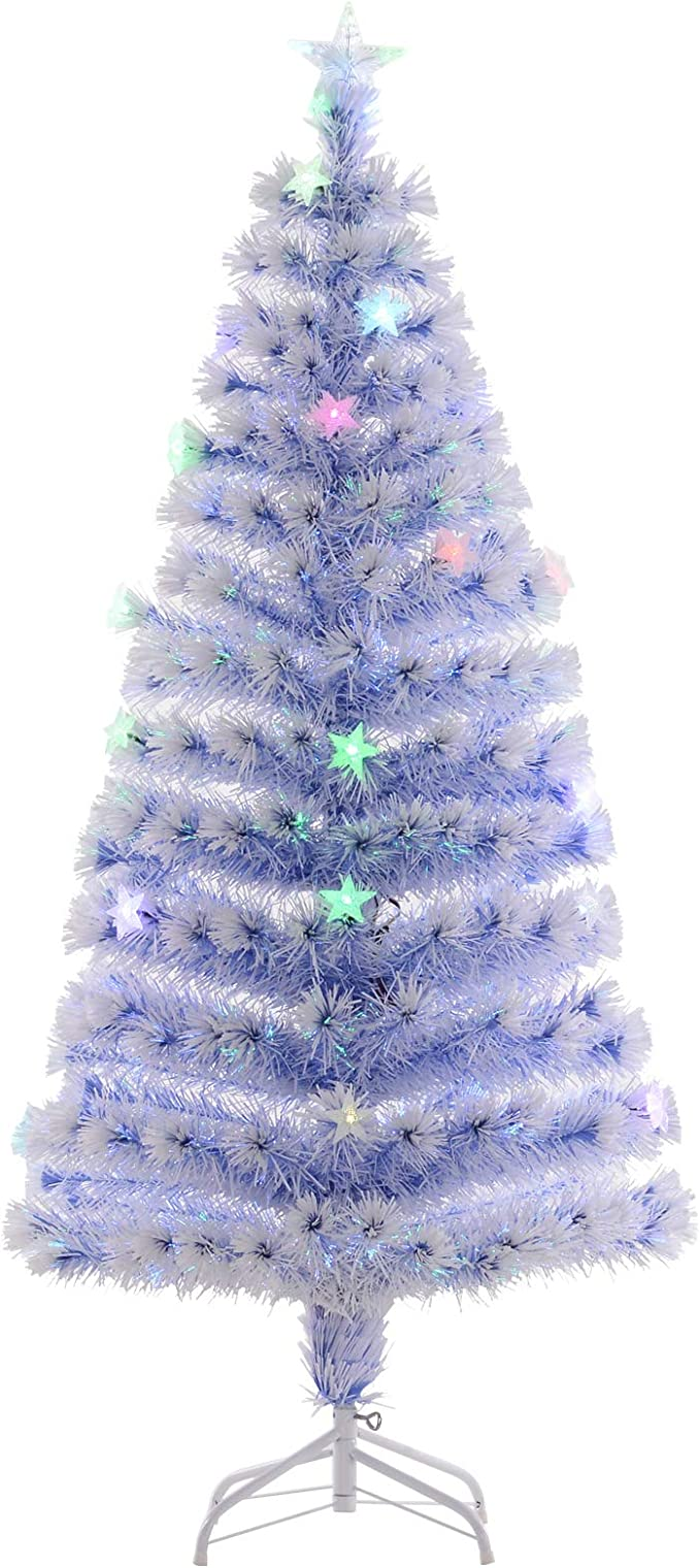 White Christmas Tree With Blue Decorations  from images-na.ssl-images-amazon.com