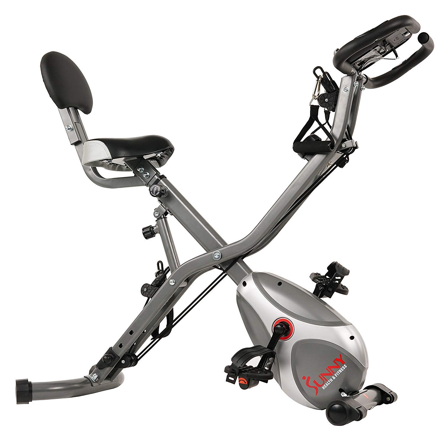 Sunny Health & Fitness Foldable Semi Recumbent Magnetic Upright Exercise Bike w/Pulse Rate Monitoring, Adjustable Arm Resistance Bands and LCD Monitor - SF-B2710 by Sunny Health & Fitness (Image #2)