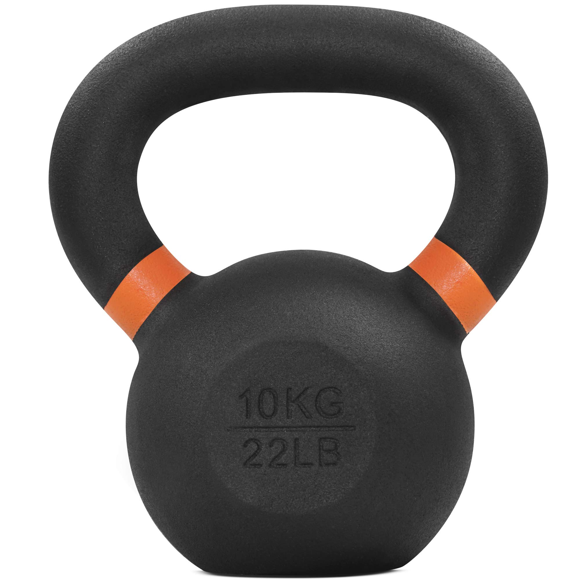 Yes4All Powder Coat Kettlebell Weights with Wide Handles & Flat Bottoms – 10kg/22lbs Cast Iron Kettlebells for Strength, Conditioning & Cross-Training