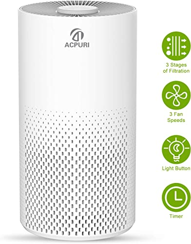 ACPURI Air Purifier,Three-Stage Filtration System with True HEPA Filter for Office Small Room Air Cleaner