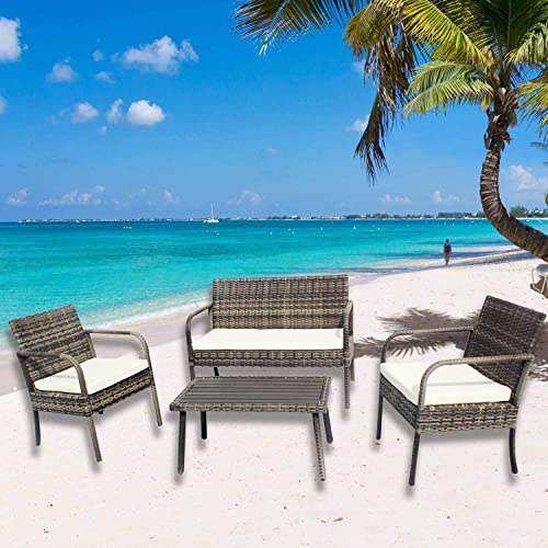NICESOUL Outdoor Patio Furniture 4 Pieces Embossing PE Rattan Wicker Sofa and Chairs Set
