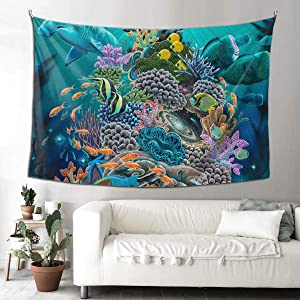 NiYoung Wall Hanging Hippie Hippy Tapestry Room, Wall Tapestry for Living Room, Bedroom Dorm Room, Collage Dorm, Beach Throw Picnic Mat (Ocean Good Luck Turtle Hammerhead Sharks, 60x90 inch)
