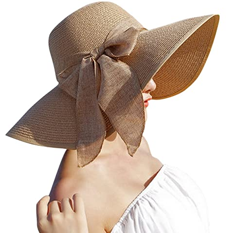 d239f0a760e Lanzom Womens Big Bowknot Straw Hat Floppy Foldable Roll up Beach Cap Sun  Hat UPF 50+
