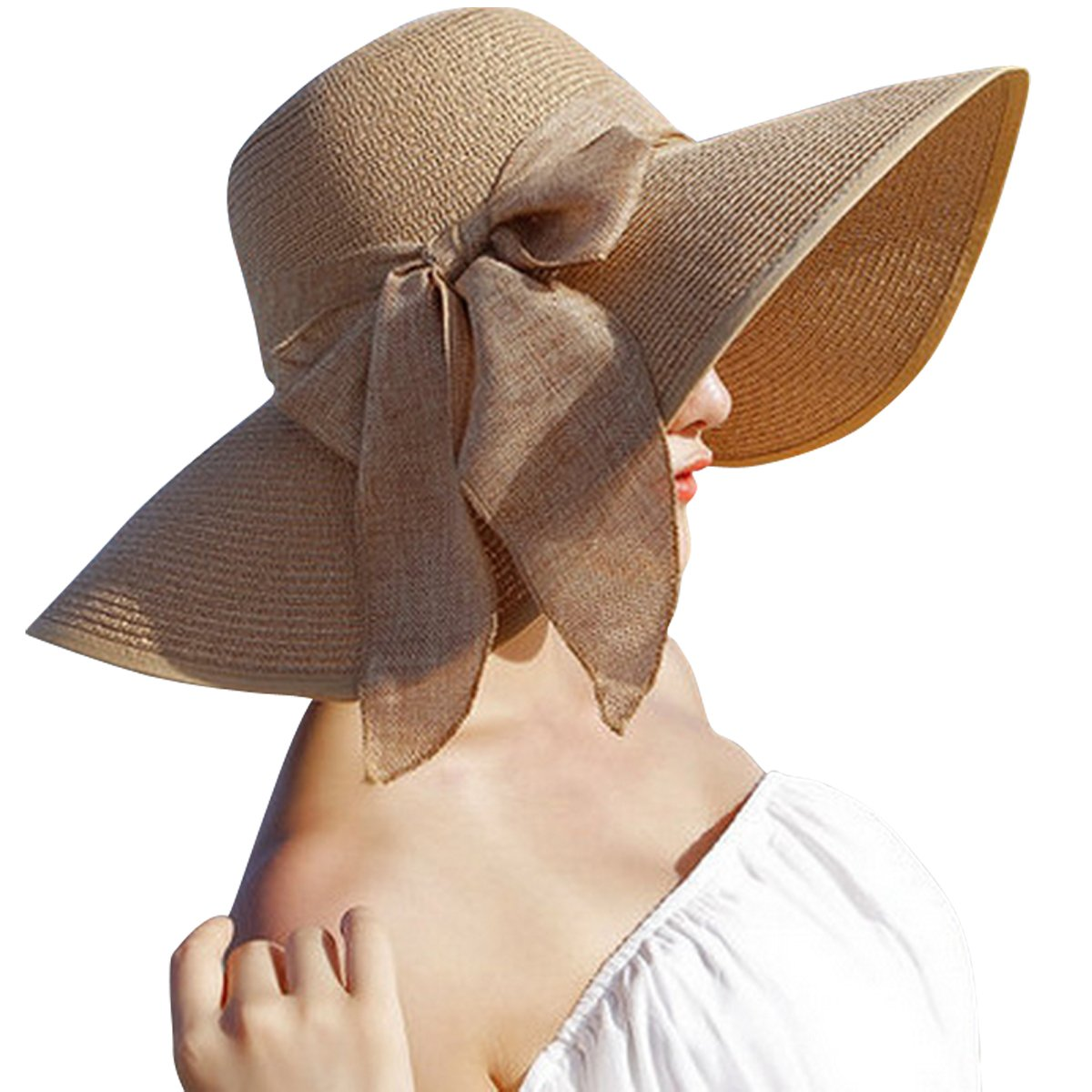 JOYEBUY Women Lady Big Bowknot Straw Hat Floppy Foldable Roll up UV Protection Beach Cap Sun Hat (Khaki)