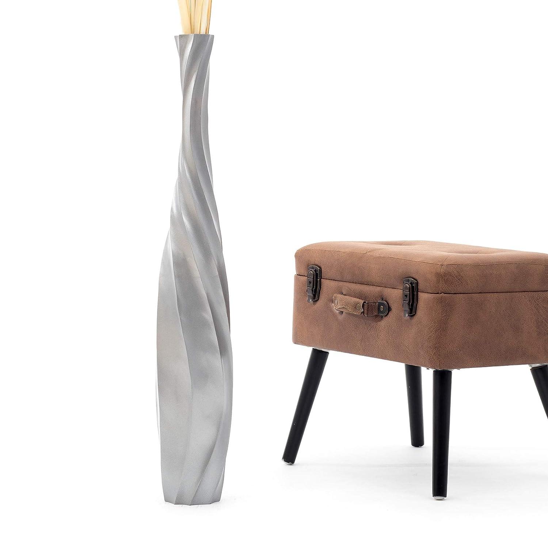 Leewadee Grand Vase A Poser Au Sol pour Branches D/écoratives Design Vase Haut 75 cm Bois de Mangue Argentin
