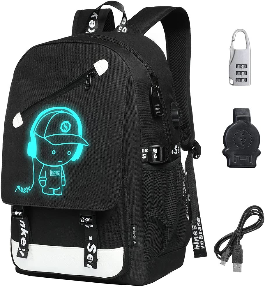 School Backpack, Travel Laptop Backpack with USB Charger Port Student Bag for Men Women w Florescent Mark, Fits 15.6 Inch Laptop