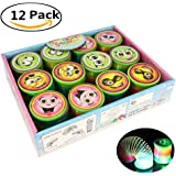 Jofan 12 Pack Novelty Colorful LED Rainbow Neon Plastic Spring Magic Light up Slinkies Springs Toys for Birthday Party Favors Bag Fillers Gifts