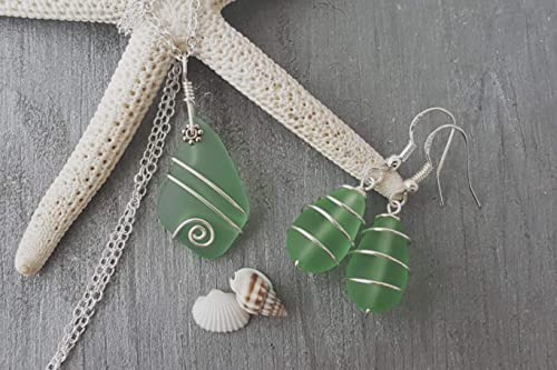 Green Seaglass Necklace /& Earring Set