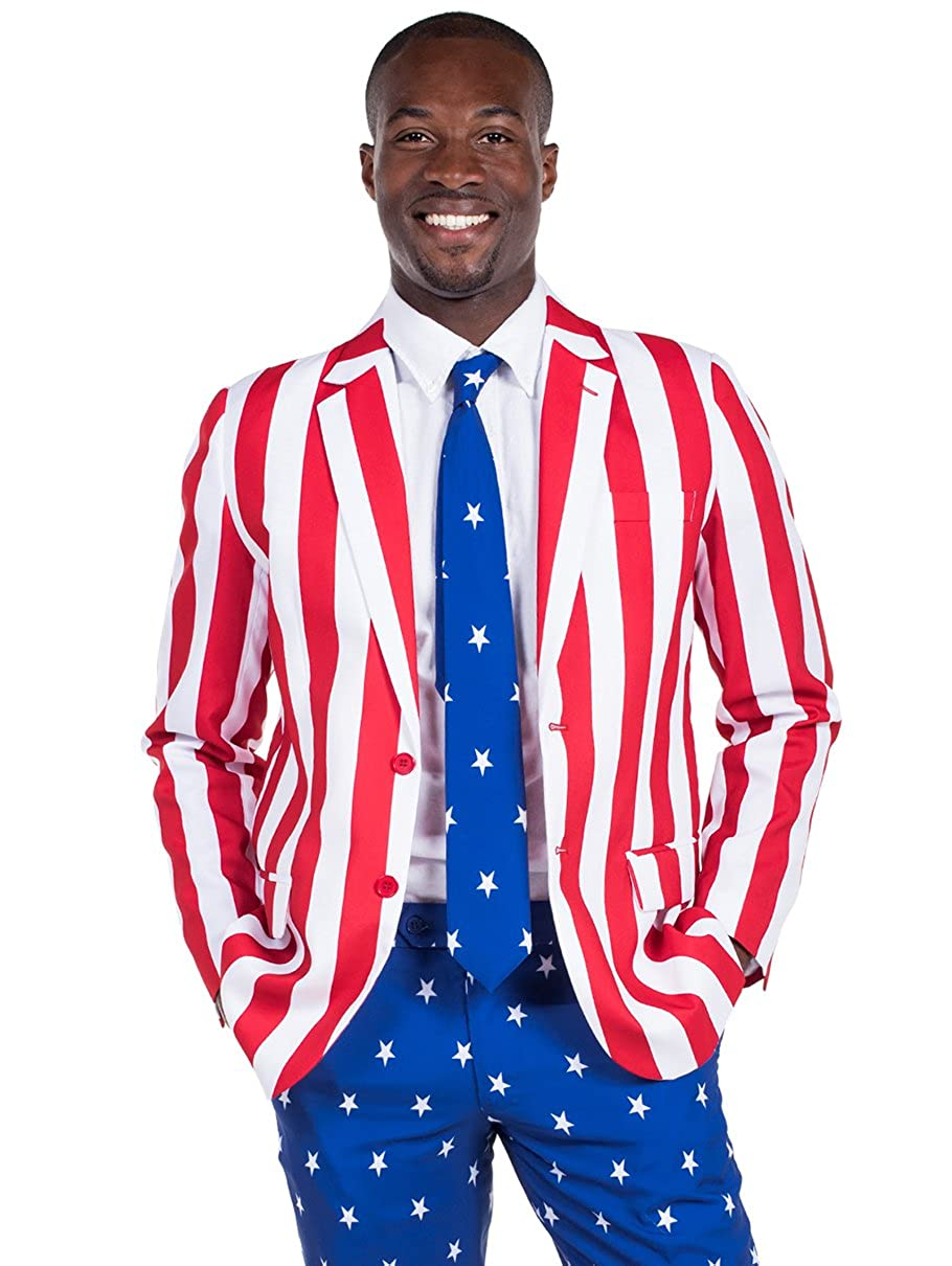 1900s Edwardian Men's Suits and Coats Tipsy Elves Mens American Flag Suit Blazer and Pants - Patriotic Suit Outfit for Men $39.95 AT vintagedancer.com