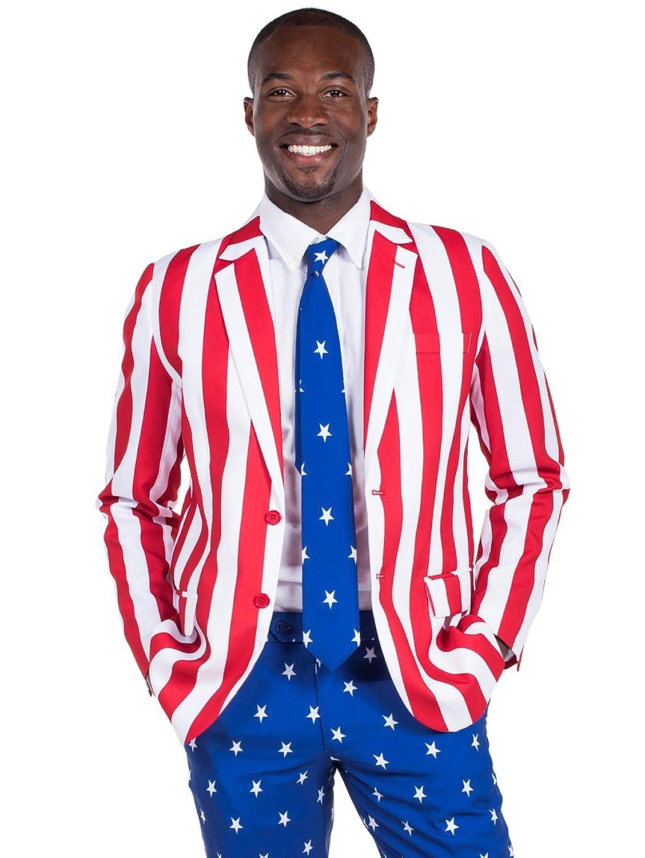 1920s Men's Costumes: Gatsby, Gangster, Peaky Blinders, Mobster, Mafia Tipsy Elves Mens American Flag Suit Blazer and Pants - Patriotic Suit Outfit for Men $40.00 AT vintagedancer.com