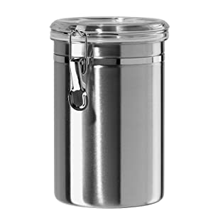 Airtight Canisters for the Kitchen Stainless Steel - Beautiful for Kitchen Counter, Medium 64oz, Food Storage Container, Tea Coffee Sugar Flour Canisters by SilverOnyx - Medium 64oz - 1 Piece