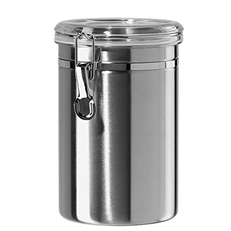 Canister Set Stainless Steel   Beautiful Canisters For Kitchen Counter,  64oz Medium, With Airtight