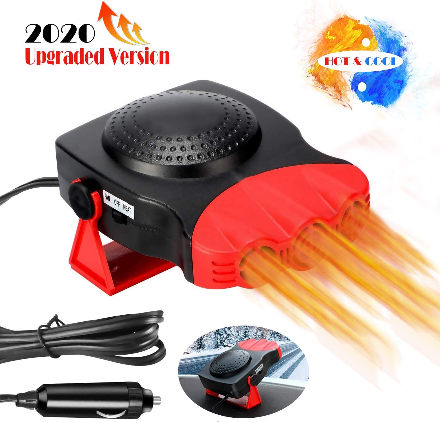 Red Car Heater Portable Fan Heater /& Cooler Windshield Quick Defroster Defogger 12V 150W 2-in-1 Heating//Cooling Function 3 Outlet Car Heater Red