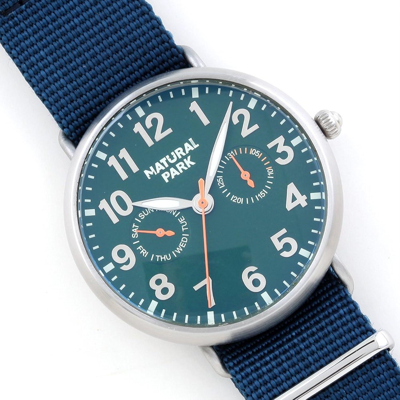 Wasserdichte Unisex-Armbanduhr Japanisches Quarzuhrwerk Tag Datum Fenster grÜn Zifferblatt blau Nylon Band