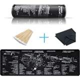 YFEEX Gun Cleaning Mat Pad (36.2'' X 12.2'')- Cleaning Mats with Cotton Swabs and Cleaning Cloth-Workbench Mat - with  Parts Diagram