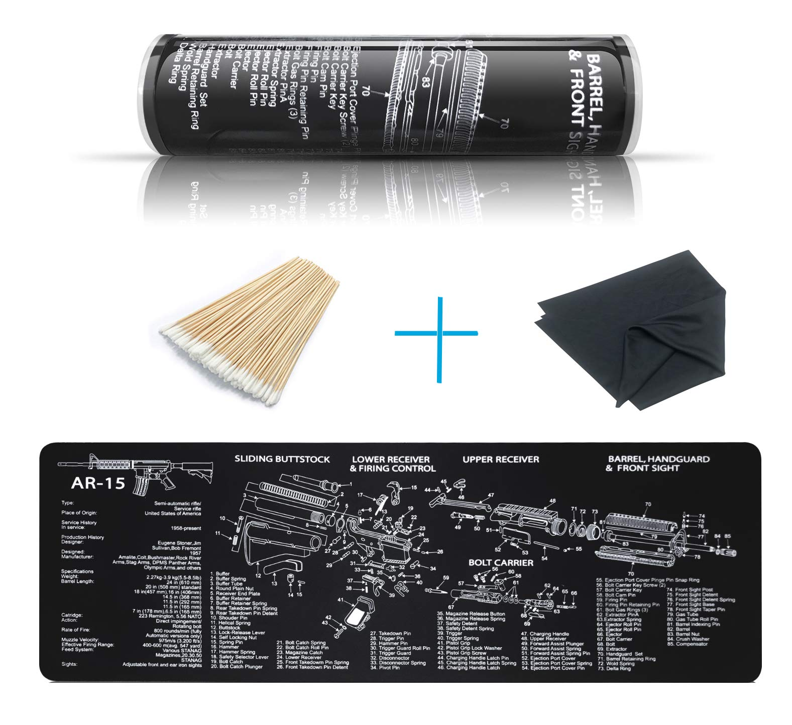 YFEEX Gun Cleaning Mat Pad (36.2'' X 12.2'')-Ar 15 Gun Cleaning Mat with Cotton Swabs & Cleaning Cloth | 3.5 mm | Long, Black Gun Cleaning Pad for Most Rifles