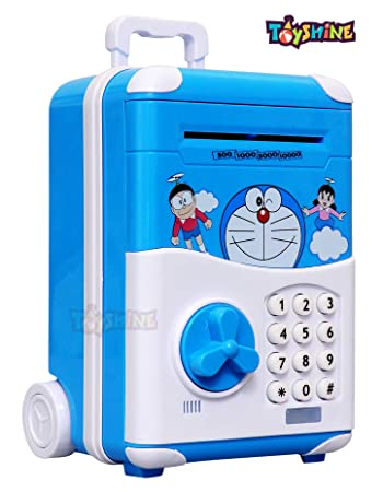 Toyshine Money Safe Kids Piggy Bank with Electronic Lock, Briefcase Model - Blue