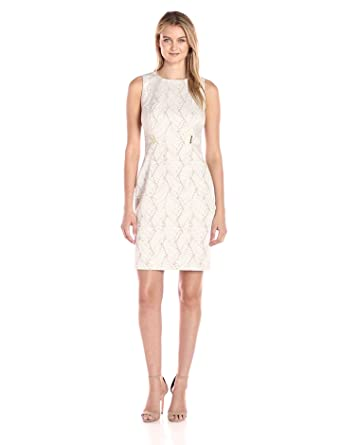8d0531ae25 Calvin Klein Women s Jacquard Sheath Dress with Hardware