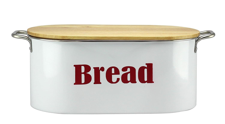 White Bread Bin with Wooden Lid Waterside Fine China