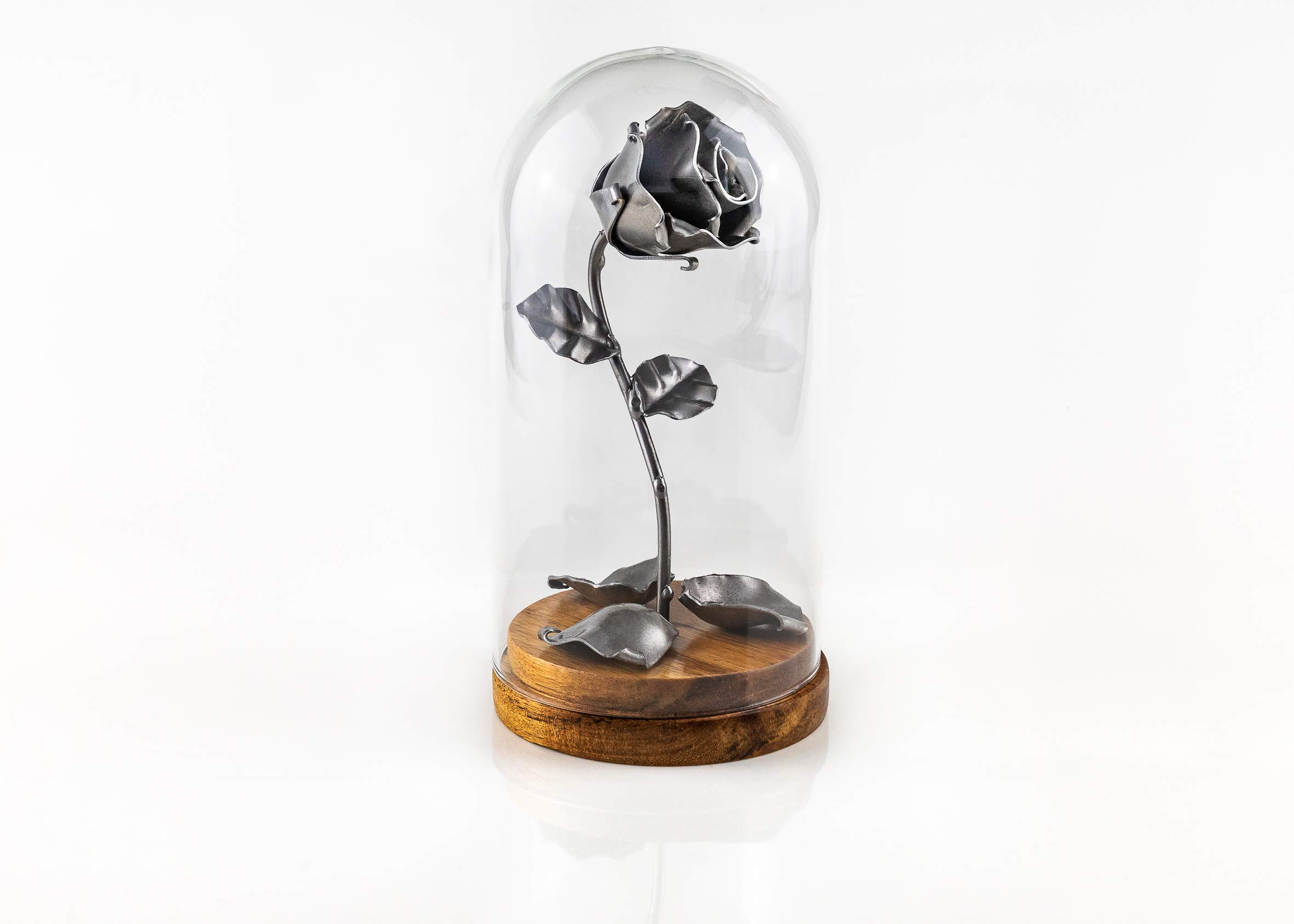 silk flower arrangements eternal rose of wrought iron beauty and the beast with fallen petals and in glass dome on wooden base