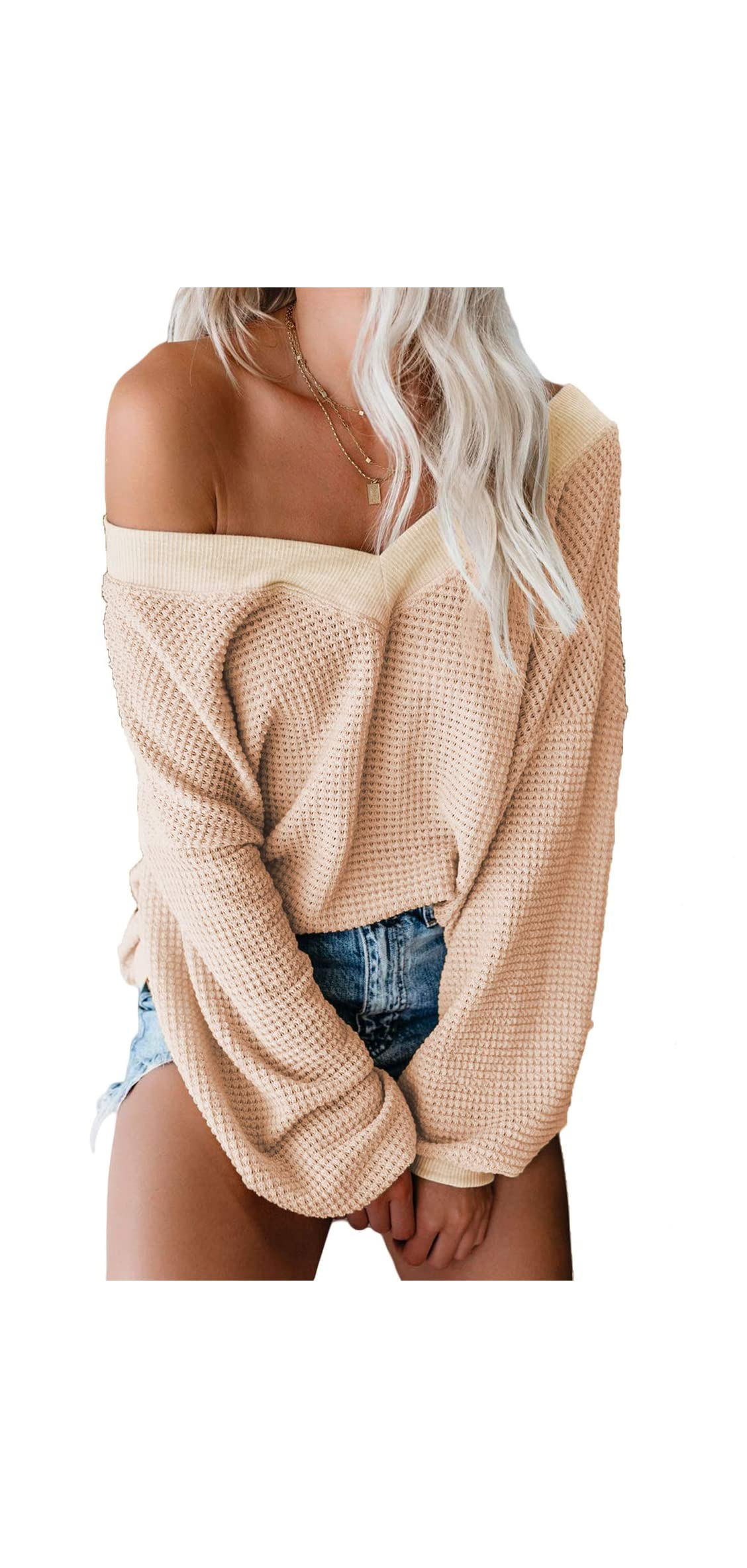 Womens Off The Shoulder Sweater Batwing Sleeve Oversized
