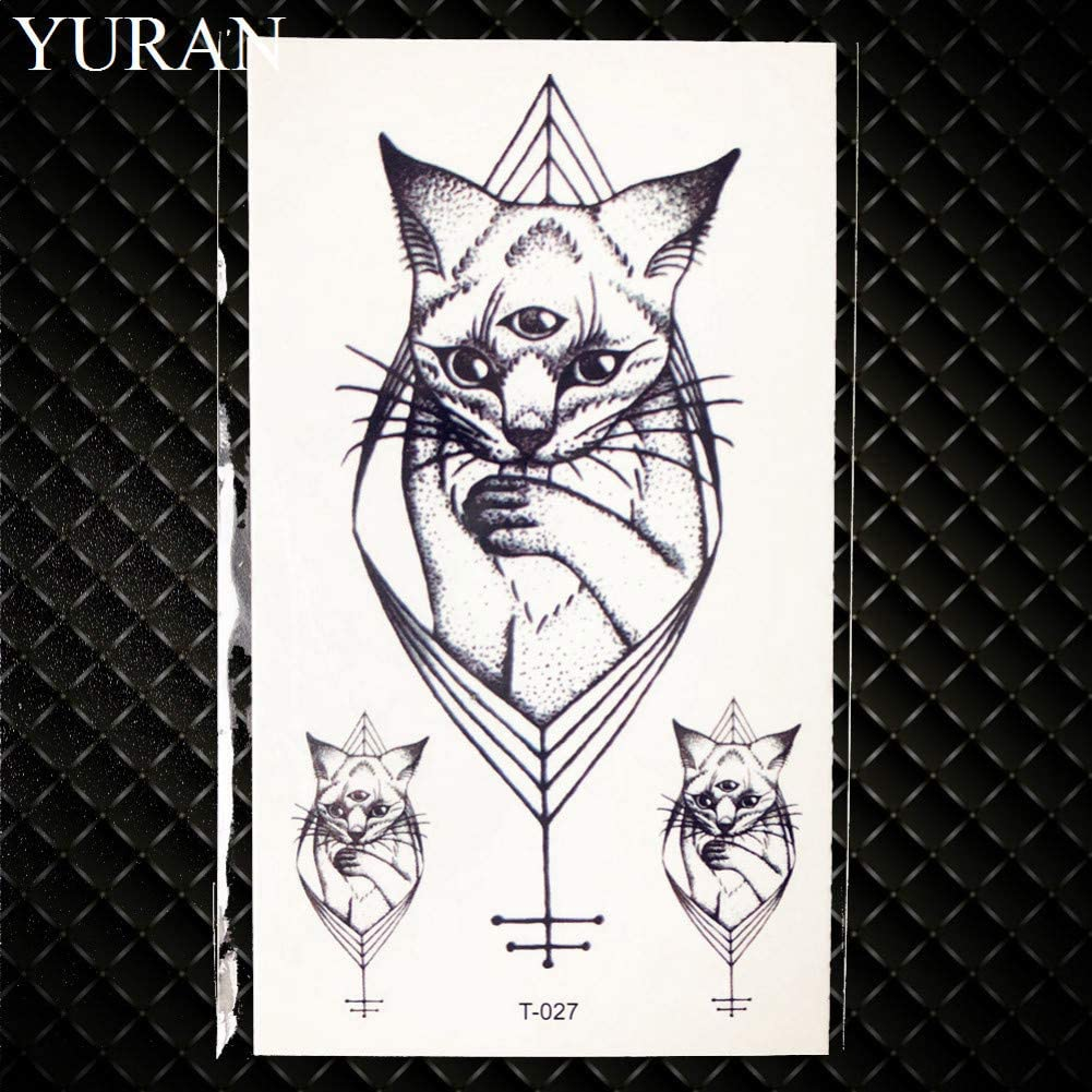 GHHCG Negro Gato Geométrico Tatuaje Temporal Luna Ciervos Rosa ...