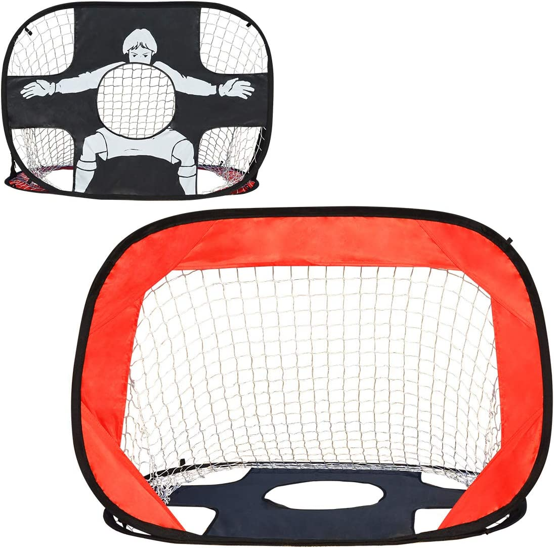 """IESTARING 2 in 1 Soccer Goal for Kids Foldable and Portable Pop-Up Soccer Net Toy with Carry Bag Perfect for Home Indoor Outdoor Backyard Garden Sports and Practice (43"""" L X 30"""" W) : Sports & Outdoors"""