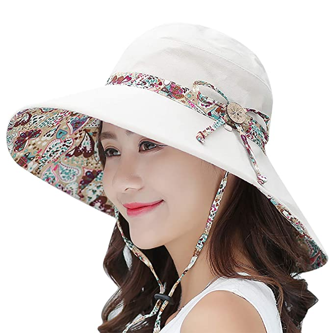 4c135afb Bienvenu UV Protection Sun Hats Wide Brim Summer Hat with Neck Flap for  Women Flap Cover