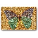 Hi,Doormat Custom Design Butterfly Welcome Funny Indoor/Outdoor Doormat Rugs Floor Mat Top Fabric & Non-Slip Rubber Backing Entryways Carpet 23.6 X 15.7 Inch