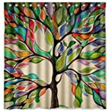 TMJJ Colorful Tree of Life Gorgeous Like Feather Bathroom Shower Curtain - Polyester Fabric Decorative Bath Curtain,70 x 70-Inches