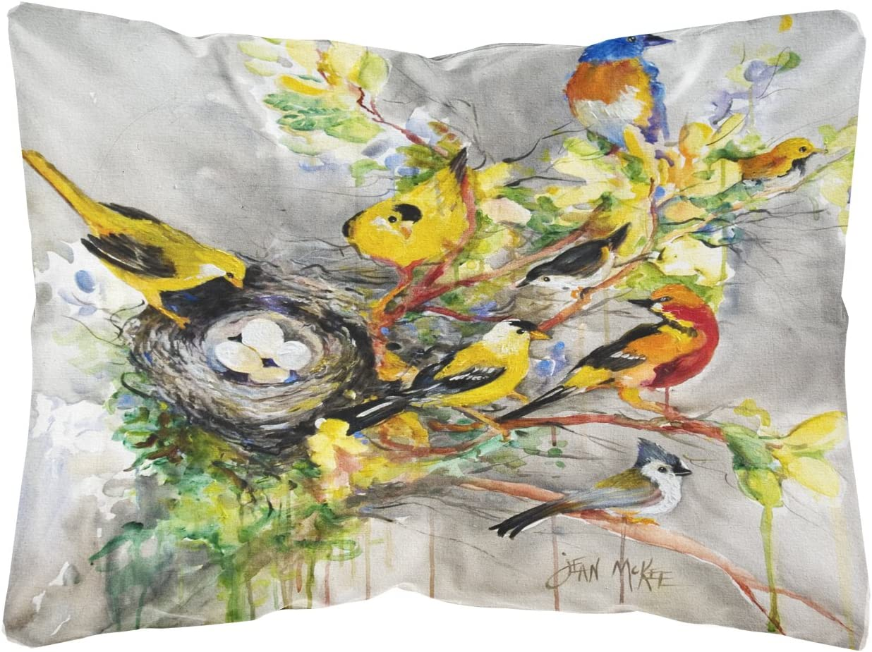 Caroline's Treasures JMK1024PW1216 Spring Birds Canvas Fabric Decorative Pillow