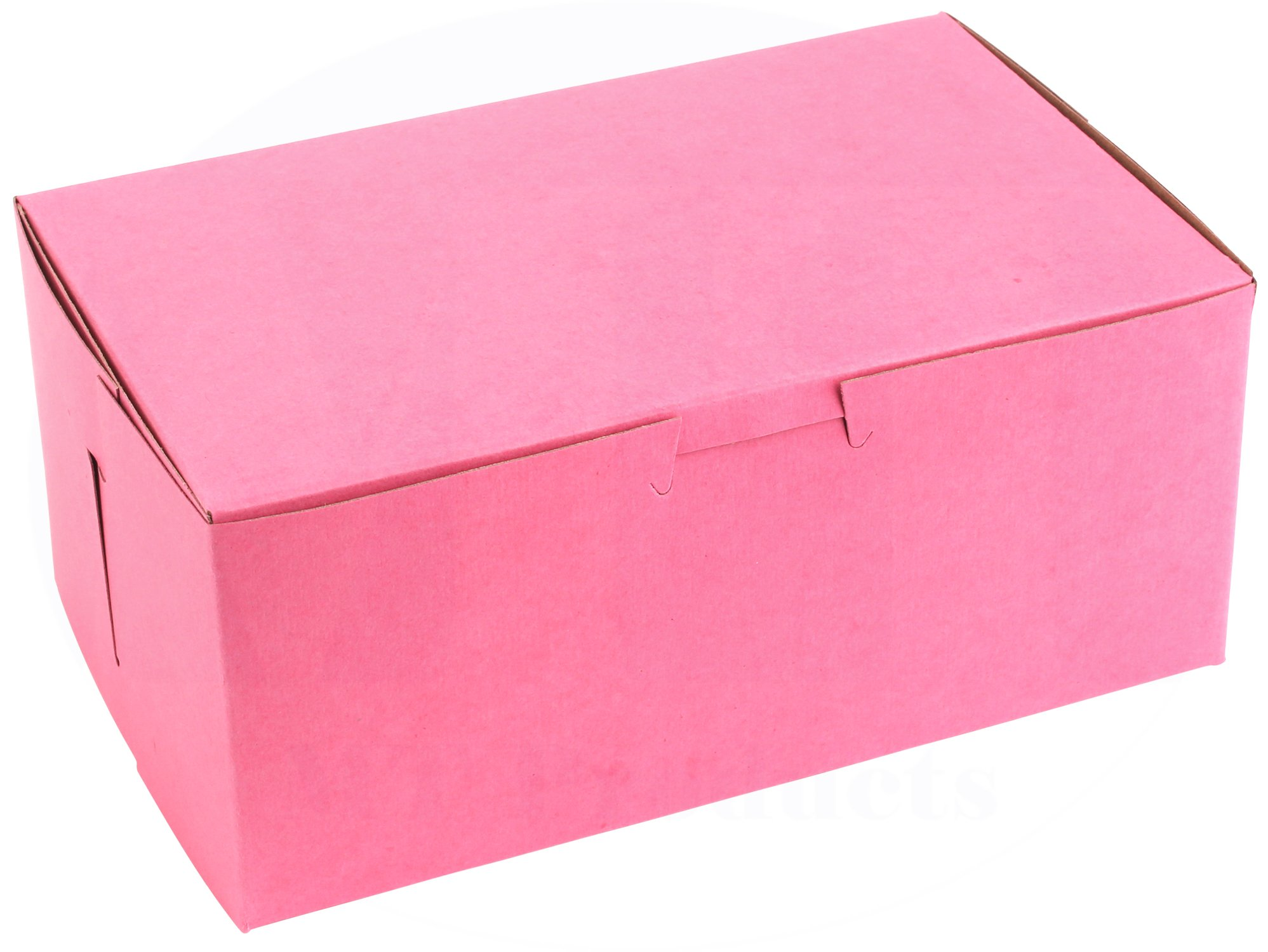 8 in Length x 5 in Width x 3 1/2 in Height Clay-Coated Paperboard Non-Window Lock Corner Pink Bakery Box by MT Products (Pack of 15)