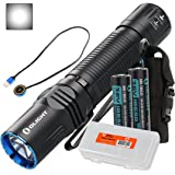Olight M2R Warrior 1500 Lumen Magnetic USB Rechargeable LED Compact Tactical Flashlight, 2x 3500mAh 18650 Batteries, Lumen Tactical Battery Organizer (Cool White/Neutral White Options)