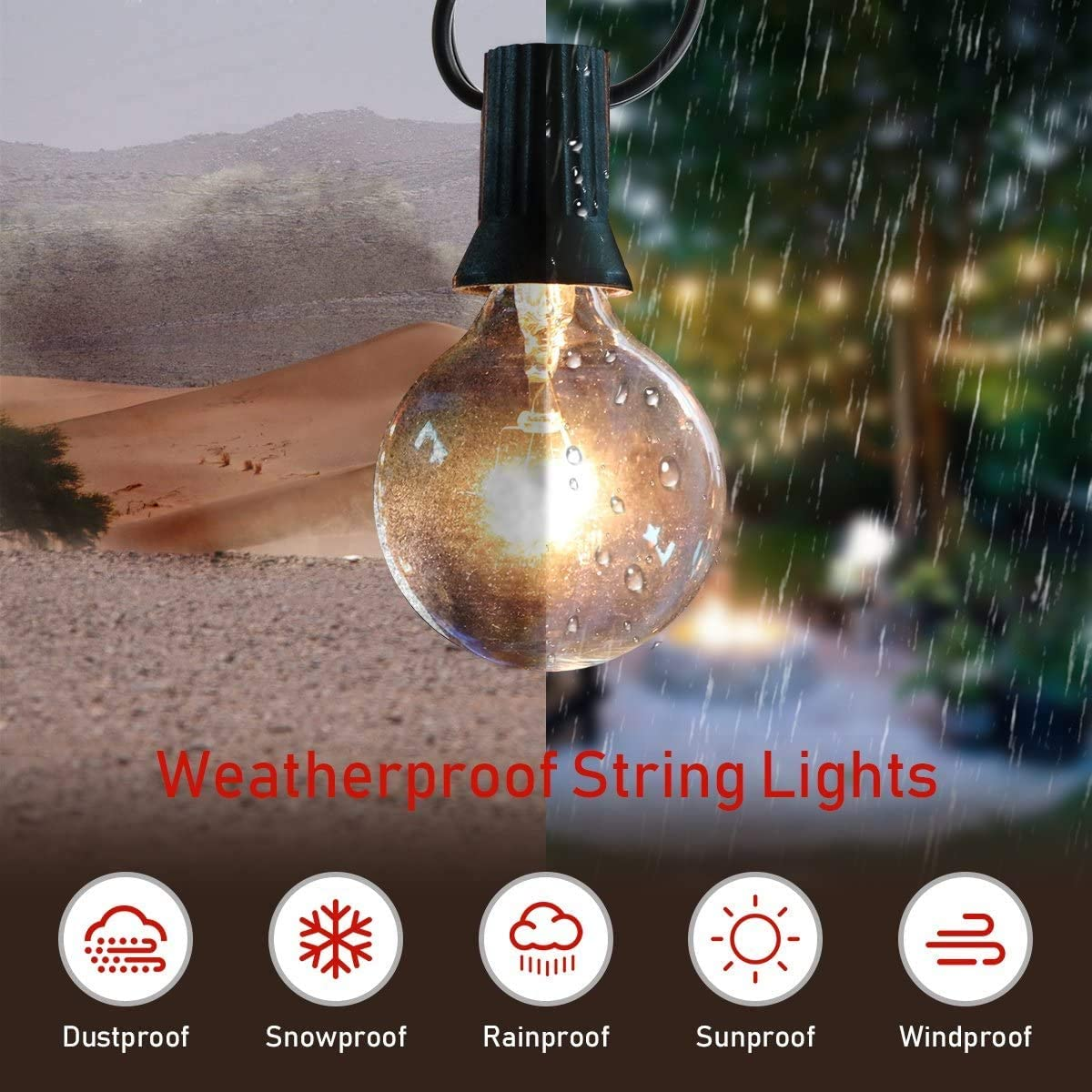 Grezea Outdoor Indoor Globe String Lights with 27 Clear G40 Light Bulbs, Perfect Decor Commercial Lighting for Patio Backyard Garden Wedding Party Tent RV Bedroom Cafe Shop Bistro Market, Warm White